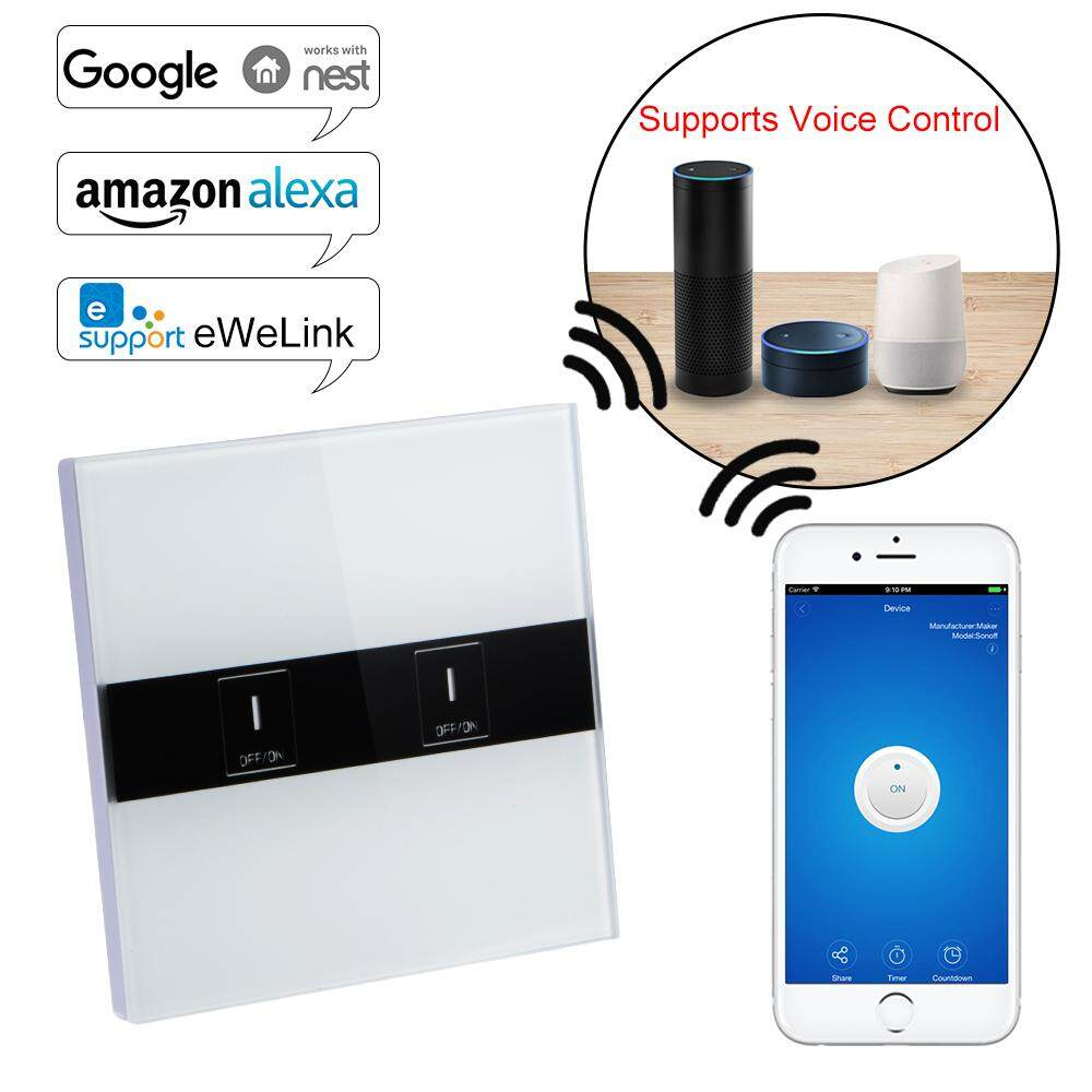 The Price Of Smart Wifi 2 Gang Touch Light Switch Panel For Amazon 3 Alexa Voice Control Ld1273