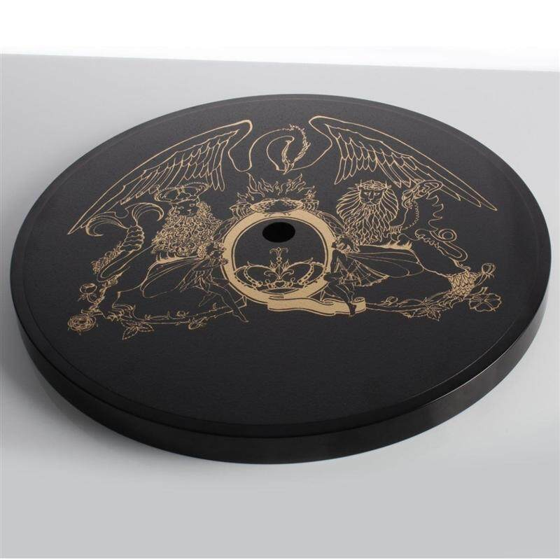 The Queen logo, which is on the platter of the turntable. There is an included slip mat that will sit above this to protect it when the turntable is in use