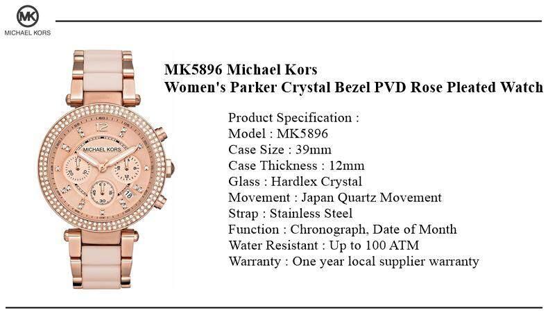 01f19ea4fd38 Product details of Michael Kors Women s Parker Crystal Bezel PVD Rose  Pleated Watch MK5896