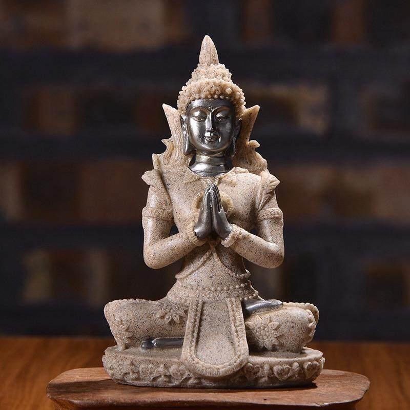 Sakyamuni Buddha Resin Sandstone Meditative Seated Statue Furnishing Article KYY8224 - intl