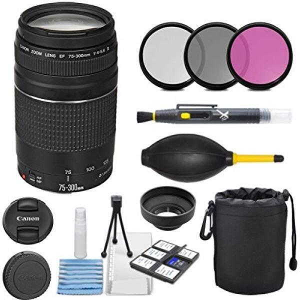 Canon EF 75-300 Mm F/4-5.6 III Zoom Potret Jarak Jauh Lensa Bundle untuk Canon Kamera DSLR-Internasional versi-Intl