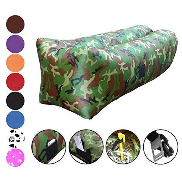Inflatable Couch by Vitchelo - Giant Bean Bag Chairs for Kids and Adults, Blow Up Sofa, Inflatable Lounge and Air Chair Perfect for Indoor and Outdoor Hangout, Camping, Picnic & Music Festivals (Camo) - intl