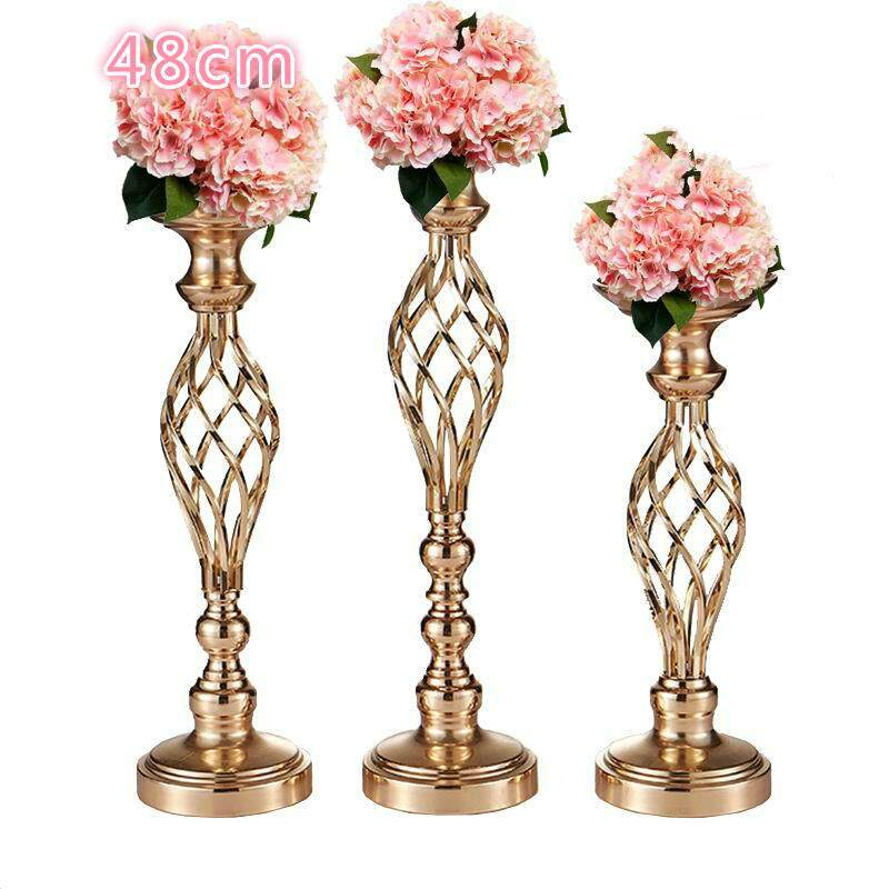 225 & Metal Gold Candle Holders Road Lead Table Centerpiece Stand Pillar Candlestick For Wedding Candelabra Flowers Vases-48cm - intl