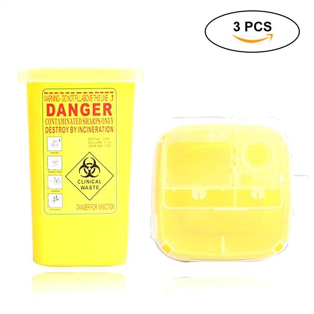 liebao 3Pcs Yellow Mini Sharps Container Tattoo Needle Case Small Garbage Bin Storage Organizer