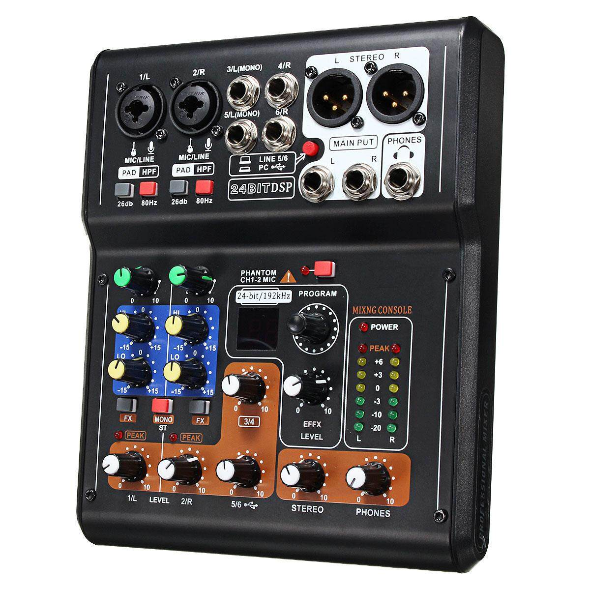 Mini 6 Channels Audio DJ Karaoke Sound Mixer Mixing Console with High Quality DSP Effect 16 Types for PC Audio KTV - intl