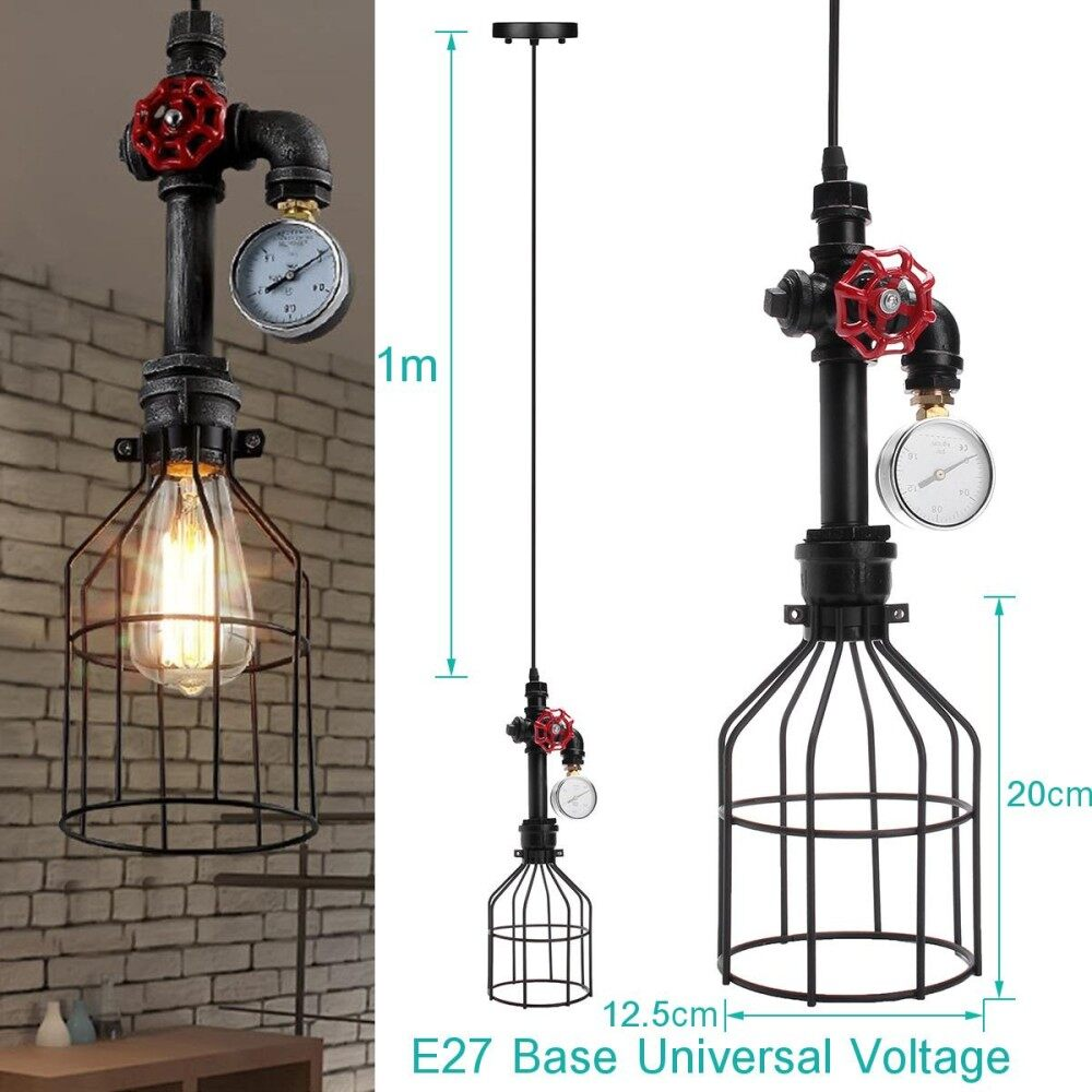 Features Oscar Store Iron Wire Bulb Cage Hanging Lamp Holder Guard Voltage Ac E27 Pendant Light Socket Without Ceiling Industrial Vintage Steampunk Pipe