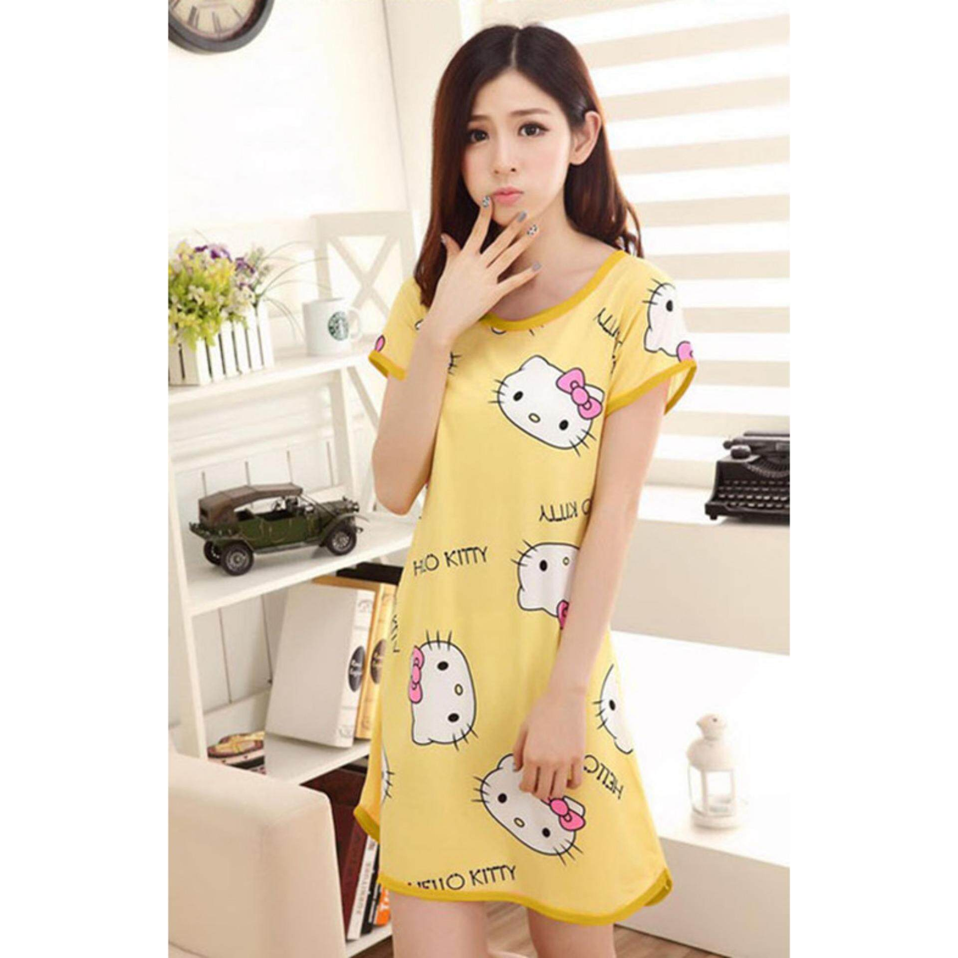 54b654ca89e9 Cute   Comfy Cartoon Nightwear (Hello Kitty Yellow) - 1pc