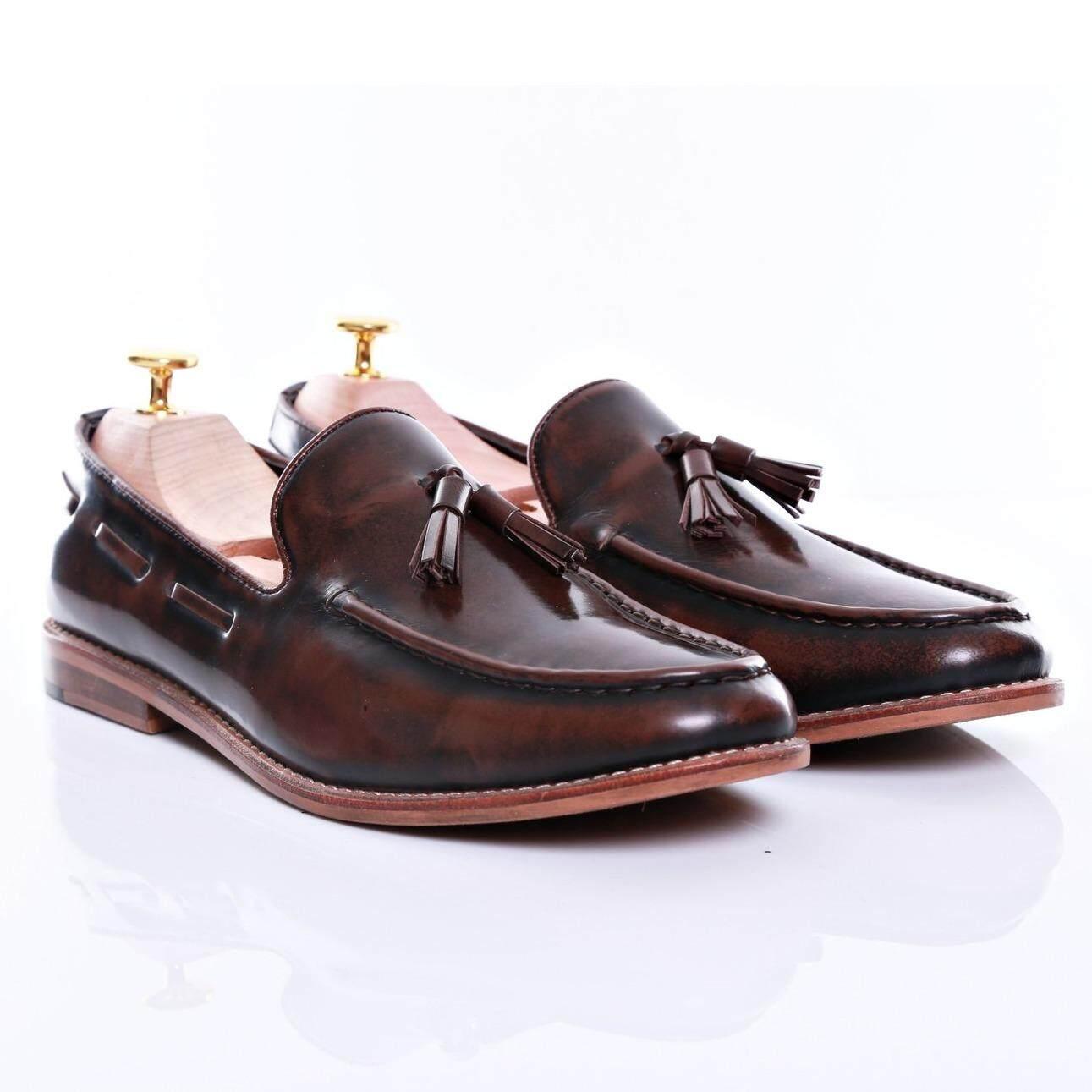 Zeve Shoes Tassel Loafer - Dark Brown Polished Leather (Normal Last)