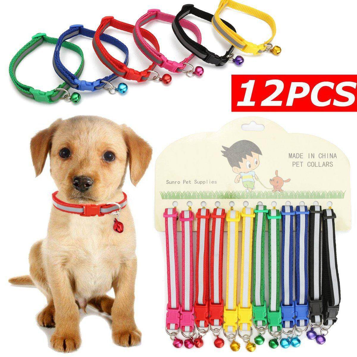 12pcs Cat Dog Puppy Collars Reflective Pet Collars With Bell Gift Wholesale By Glimmer.