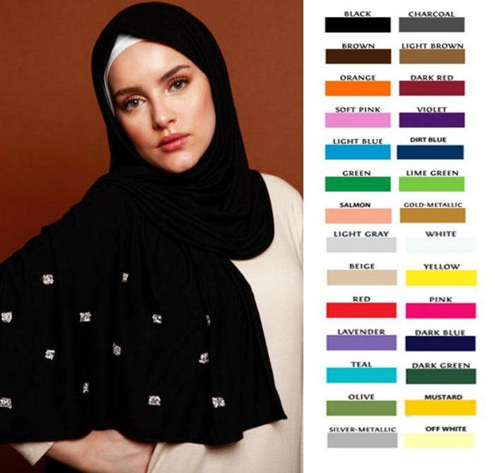 Hijabera wide shawl with side crystal - Sitara