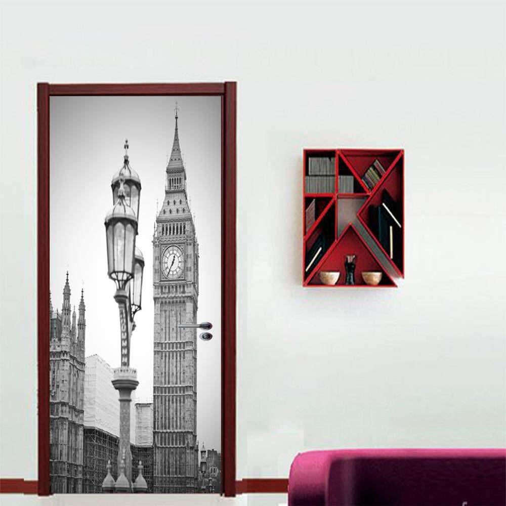 2 sheets/pcs London Big Ben DIY Wall Sticker Silent City Silhouette Door Poster Chic Mural Picture for Bedroom Study Store Decor - intl