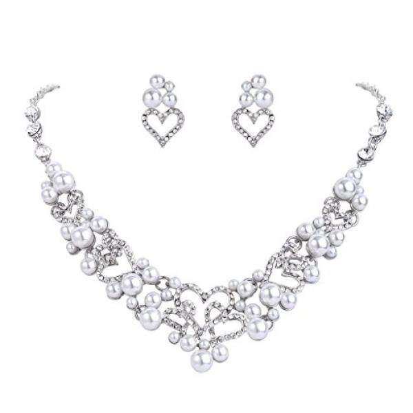 Fanze Wanita Austrian Crystal Berhias Mutiara Manis Cinta Mimpi Jantung Pernikahan Perhiasan Pengantin Set-Intl