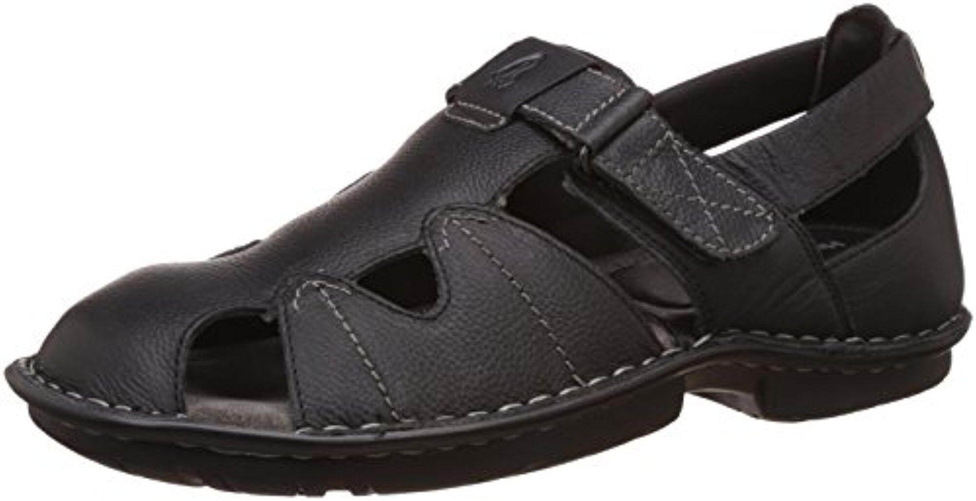 Hush Puppies Men's New Decent Oily Black Athletic & Outdoor Sandals - 7 UK/India (41 EU) (8646943) - intl