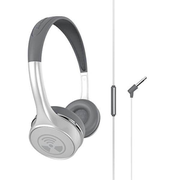 cf0c8a43b13 iFrogz Ear Pollution Toxix Plus White With Silver Logo Headphones With Mic  + Controls