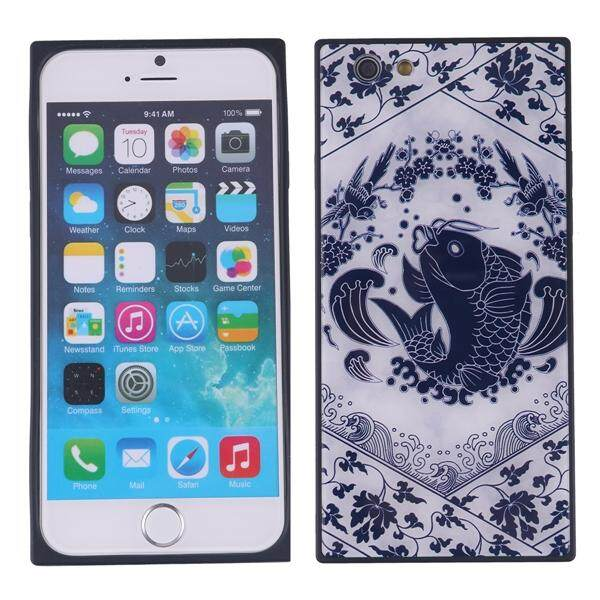 China Style Square Glass Phone Case Blue and White Porcelain Phone Shell for iPhone 6S Plus (Leaping Fish)