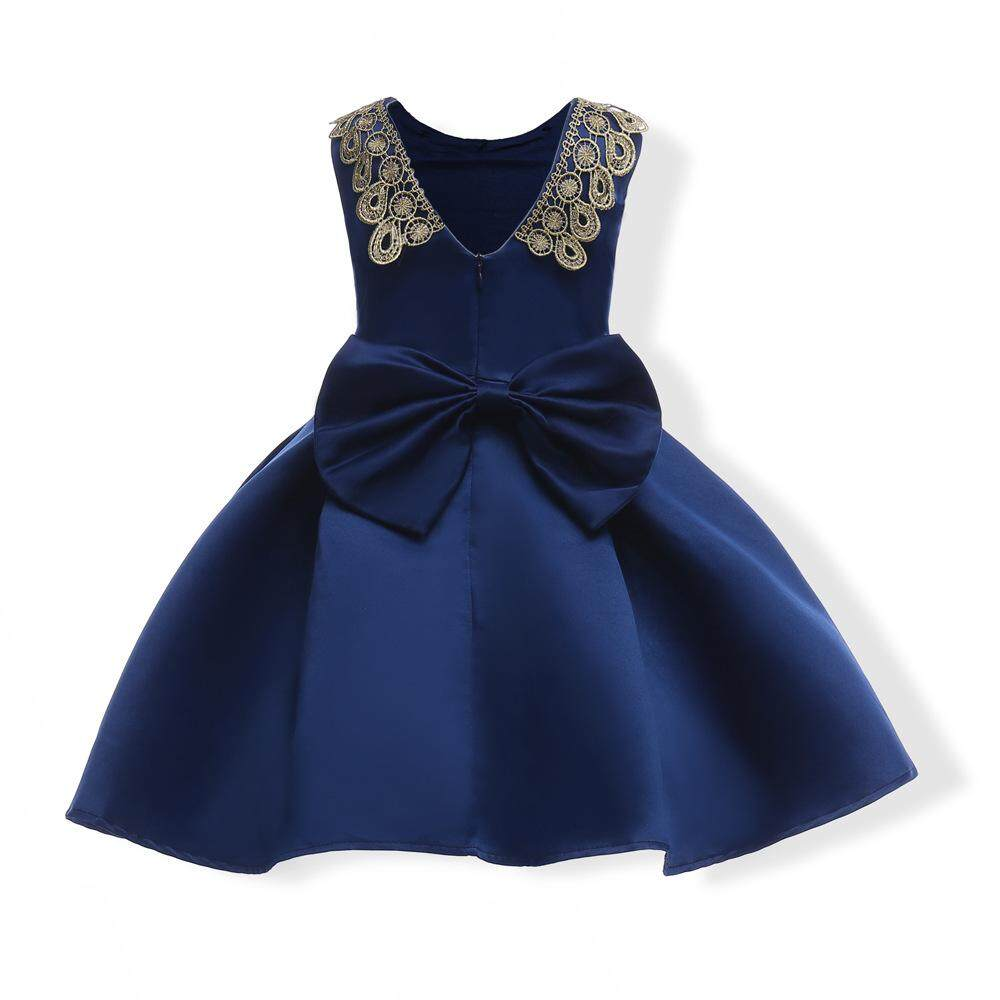 Hot Jual Baru Musim Panas Yang Indah Gadis Putri Gaun Pesta Ulang Tahun Pakaian Fashion Anak-anak Tanpa Lengan V-neck Dasi kupu-kupu Gaun Bola Gaun Formal