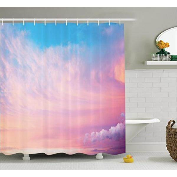 Ambesonne Apartment Decor Collection, Mystical Sky with Fluffy Clouds Heavenly Inspirational Hope Pastel Colored Nature Theme, Polyester Fabric Bathroom Shower Curtain, 75 Inches Long, Pink Blue - intl