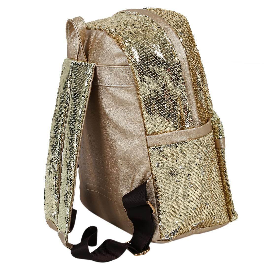 ... Wanita Mahkota Kanvas Ransel Wanita Wanita Pelajar Sekolah Perjalanan Paillette Bling Tas-Internasional - 4 ...