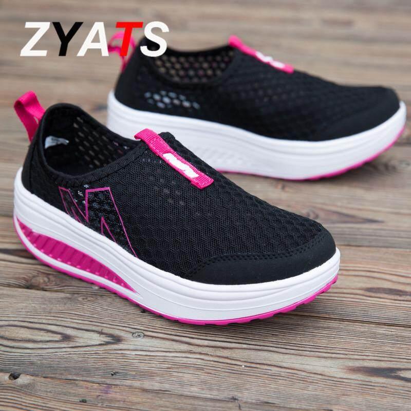 ZYATS 2018 Baru Wanita Tinggi Meningkatkan Sepatu Kasual Swing Wedges Sepatu Bernapas Hot 5 Warna - 5