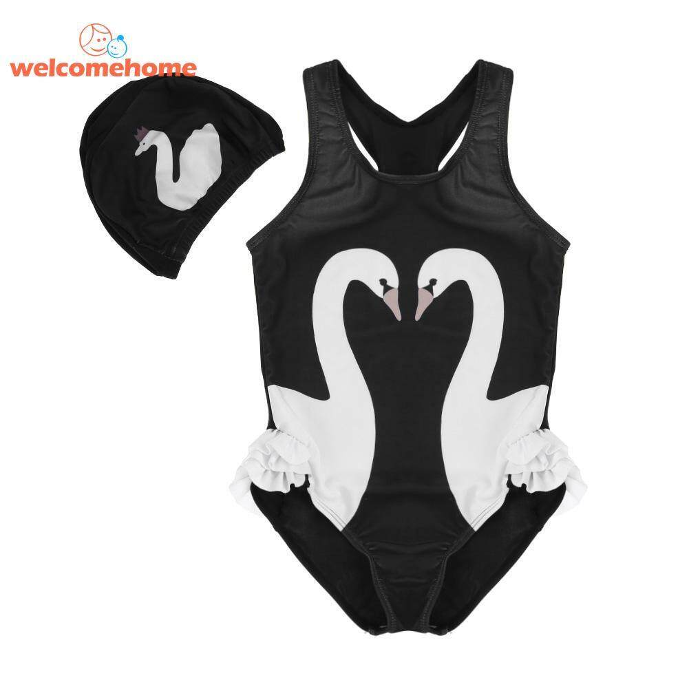 Girls Baby Children One-Piece Suits Swimwear Swan Print Bathing Suit Romper - Intl By Welcomehome.