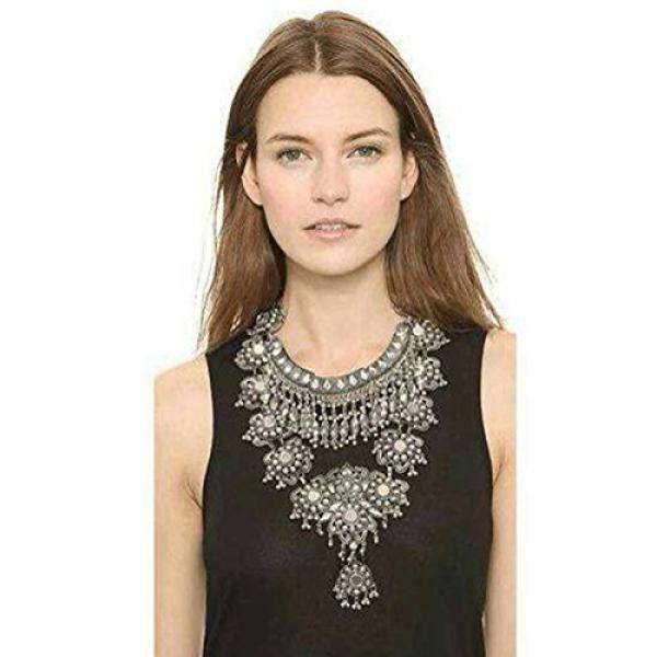 Zhenhui Modis Antik Perak Gold Suara Panjang BoHo Pernyataan Kalung Trendi Bohemian Turki untuk Wanita Aksesoris dari Perhiasan India (hitam) -Internasional