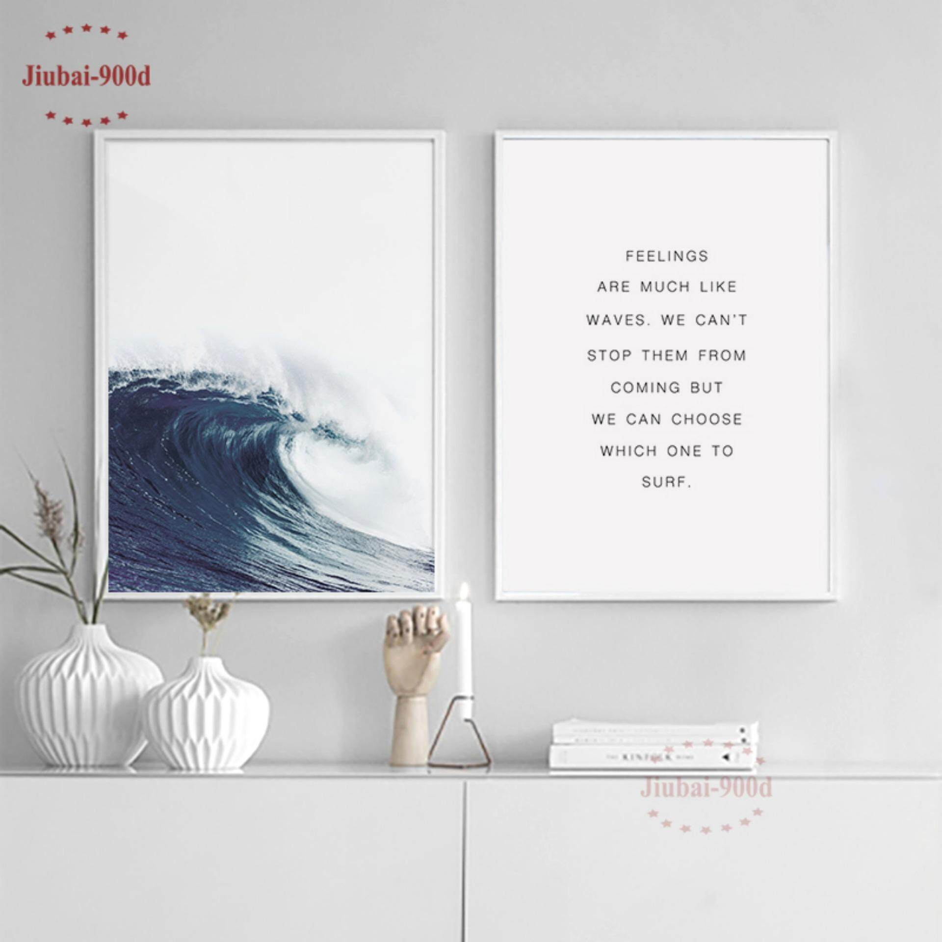 2 Pieces 30X42cm Unframed Sea Wave Art Print Painting Poster - intl