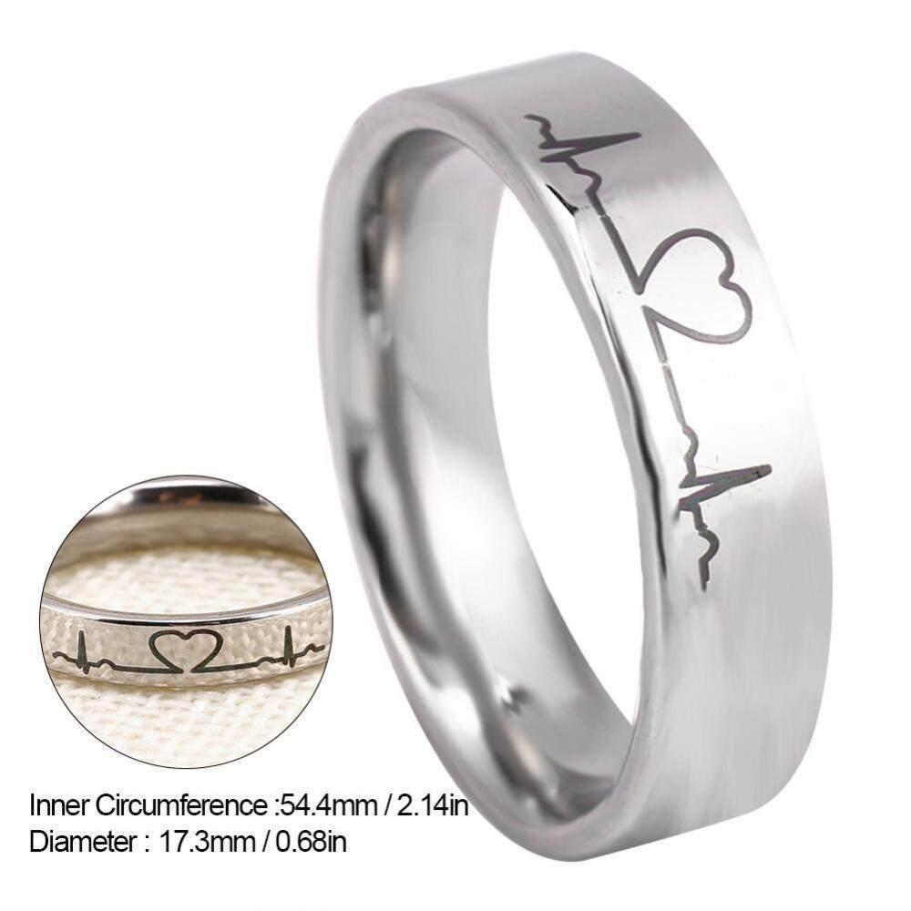 Modis Baja Titanium Sepanjang Detak Jantung Pertunangan Cinta Cincin Hadiah untuk Pria Wanita (7 #