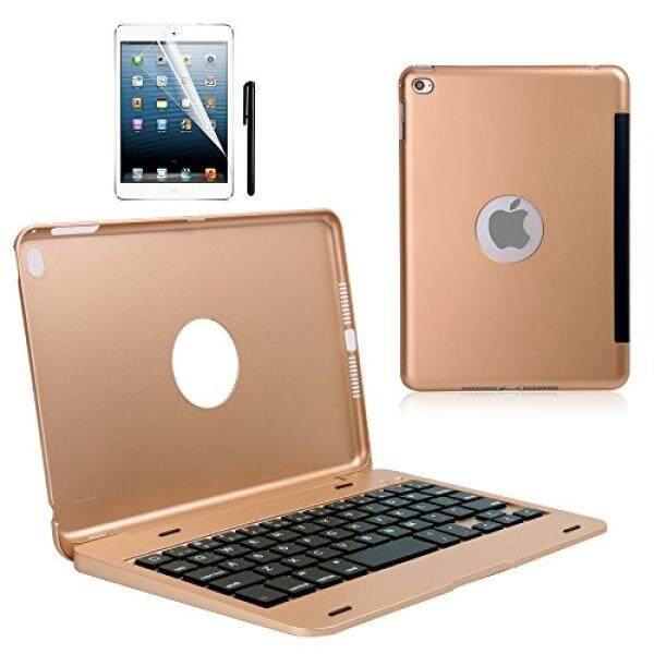 Keyboard Case for iPad mini 4, KVAGO Slim Lightweight Wireless Bluetooth Keyboard Shell Hard Plastic with Aluminium Finish Stand Flip Cover Folio Case and Rechargeable QWERTY Keyboard for Apple iPad mini4 2015 Release Gold - intl