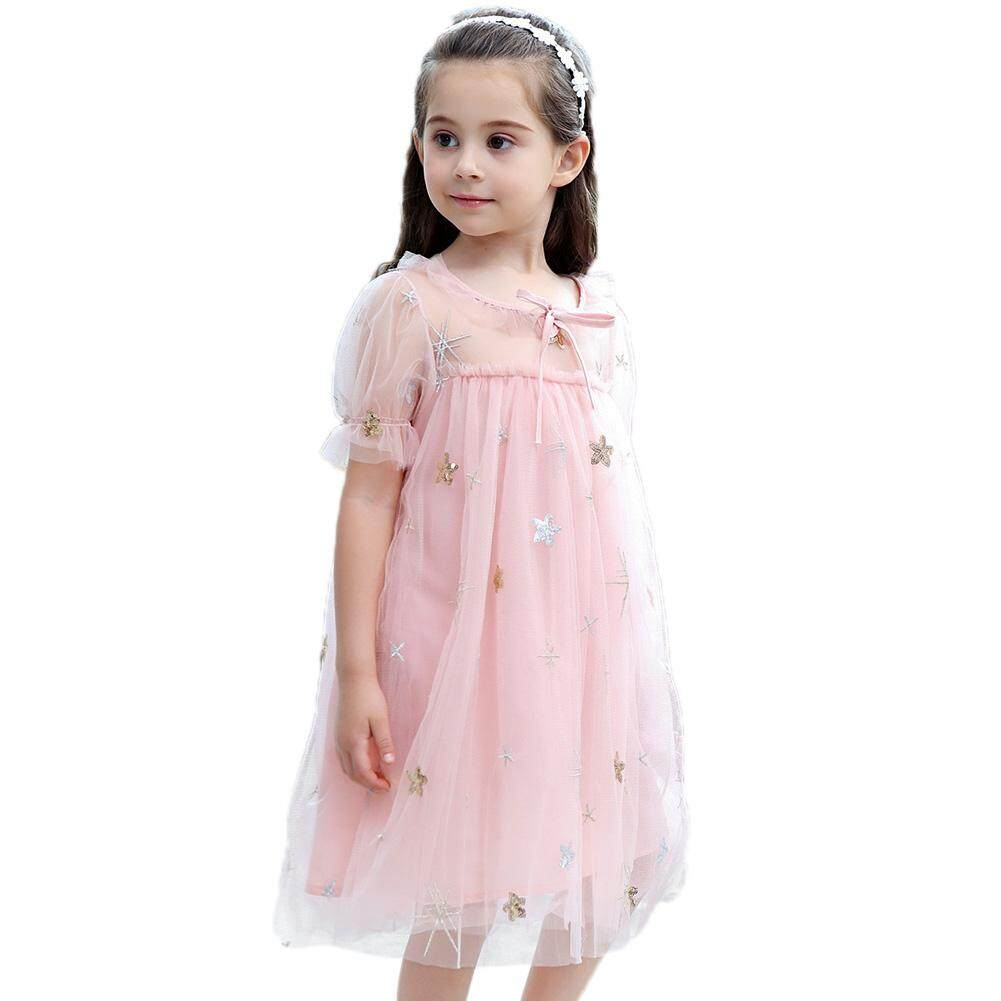 Giá bán RD Girl Paillette Star Embroidery Princess Gauze Dress with Lining Cute Party Wedding Outfits Gift