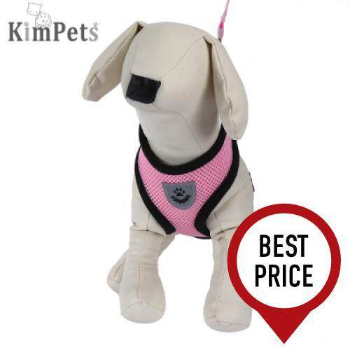 Kimpets Pet Harness Leash Soft Mesh Dog Cat Vest (PINK)