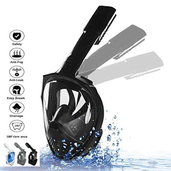 Yenl Wajah Penuh Snorkeling Masker [2018 Upgrade] Baru Lipat Snorkelling Masker dengan Dapat Dilepas GoPro Dudukan Pivot Lengan dan earplug, 180 ° Tampilan Besar Nafas Yang Mudah Kering Terbaik Set Anti-Kabut untuk Dewasa Remaja-Internasional