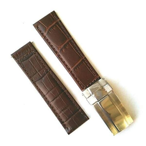 20 Mm Coklat Coklat Crocodile Biji-bijian Kulit Jam Tangan Tali Gaya OEM Rolex Daytona Gesper Tahan Karat-Internasional