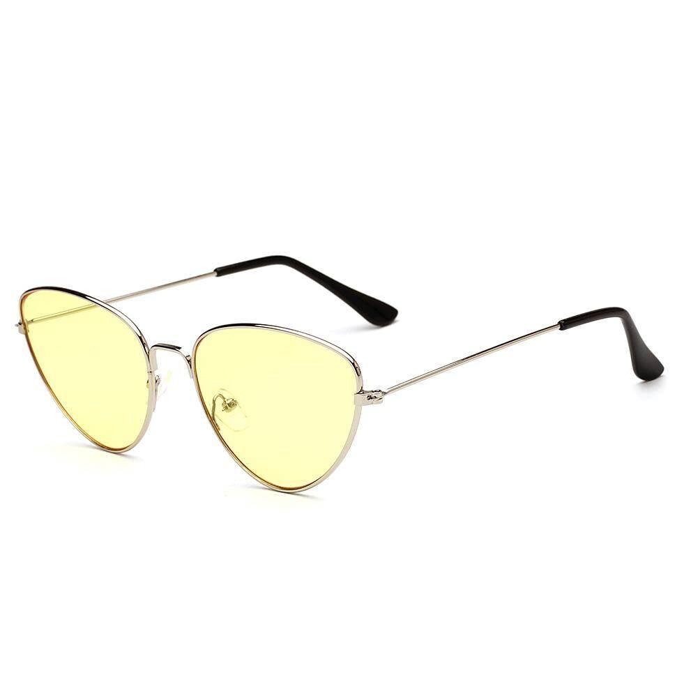 Dsstyles Bingkai Logam Kacamata Hitam Kucing Mata Lensa Datar Cermin Retro Modis Kacamata Hitam untuk Pria Wanita Warna Lensa: c5 Putih dan Jeli Kuning-Internasional