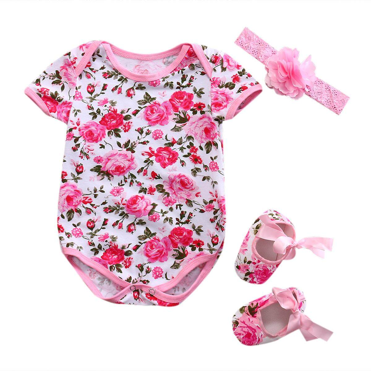 3pcs Newborn Infant Baby Girl Romper Jumpsuit+Shoe+Hairband 3Pcs Outfits Set Clothes