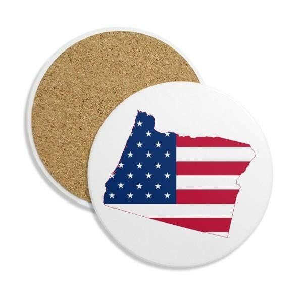 Oregon Amerika Serikat Peta Bintang Garis-garis Bendera Stone Drink Keramik Coasters untuk Mug Cangkir Hadiah 2 Pcs-Internasional