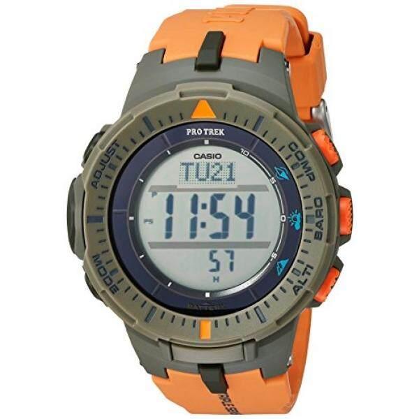 Casio Pria Protrek Triple Sensor Kuarsa Resin Jam Tangan, Warna: Oranye (Model: PRG-300-4CR)-Internasional