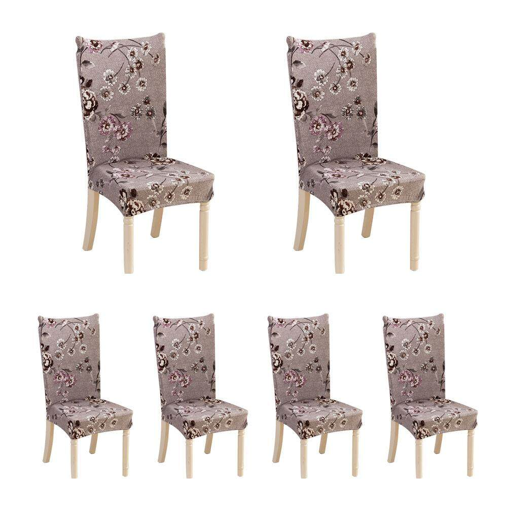 Auoker 6 X Soulfeel Soft Spandex Fit Stretch Short Dining Room Chair Covers With Printed Pattern, Banquet Chair Seat Protector Slipcover For Home Party Hotel Wedding Ceremony - intl