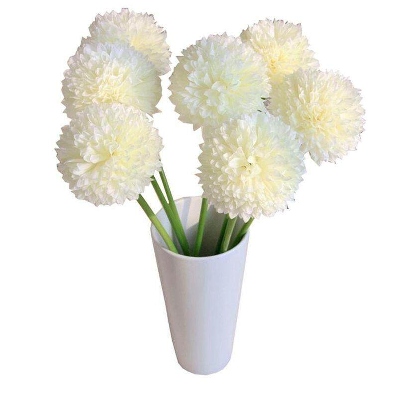 Artificial Flowers, 5 pcs Lavender Ball Artificial Flowers Bouquet Home Wedding Party Decor (White
