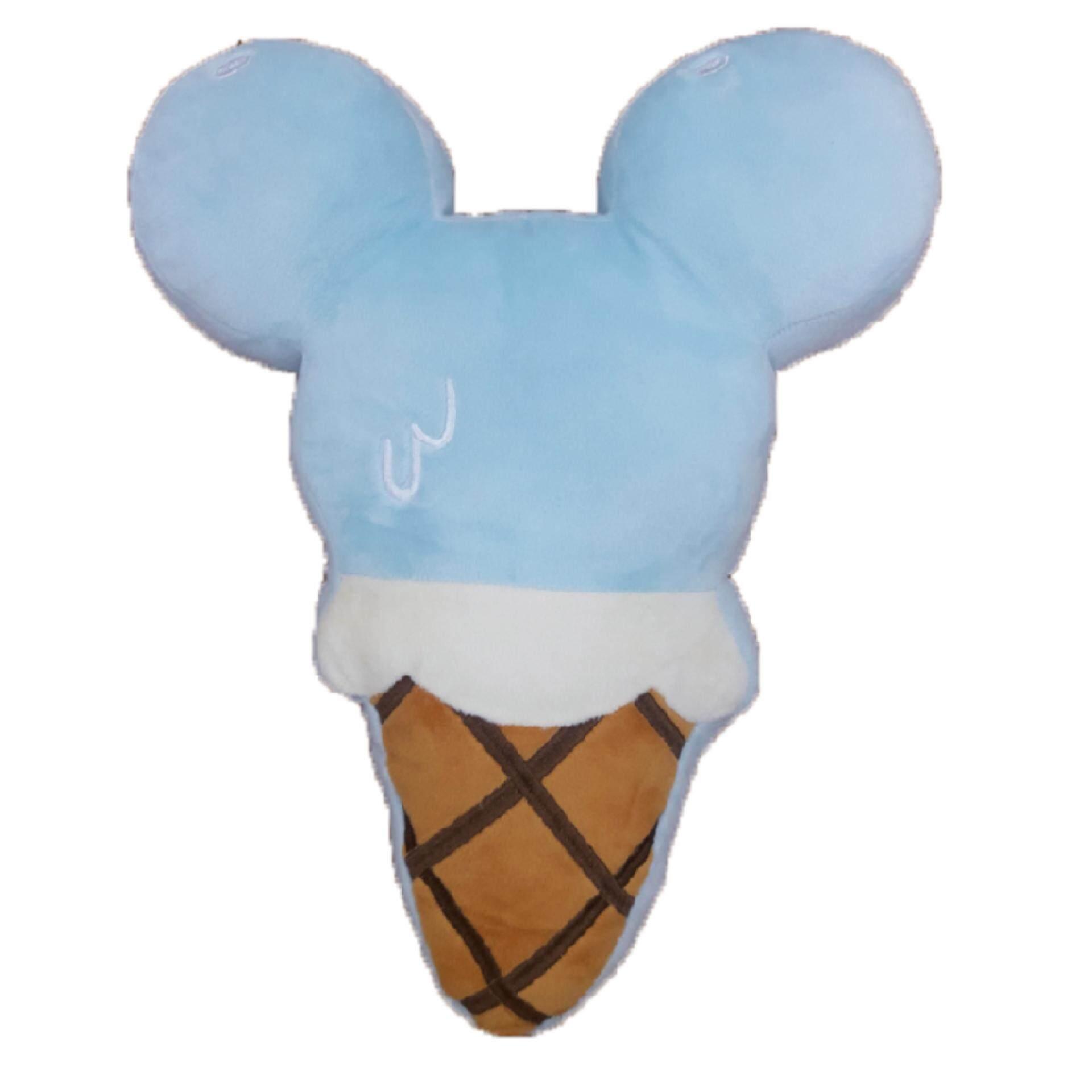 Disney Mickey Go Local Ice Cream Cone Shaped Cushion - Blue Mickey