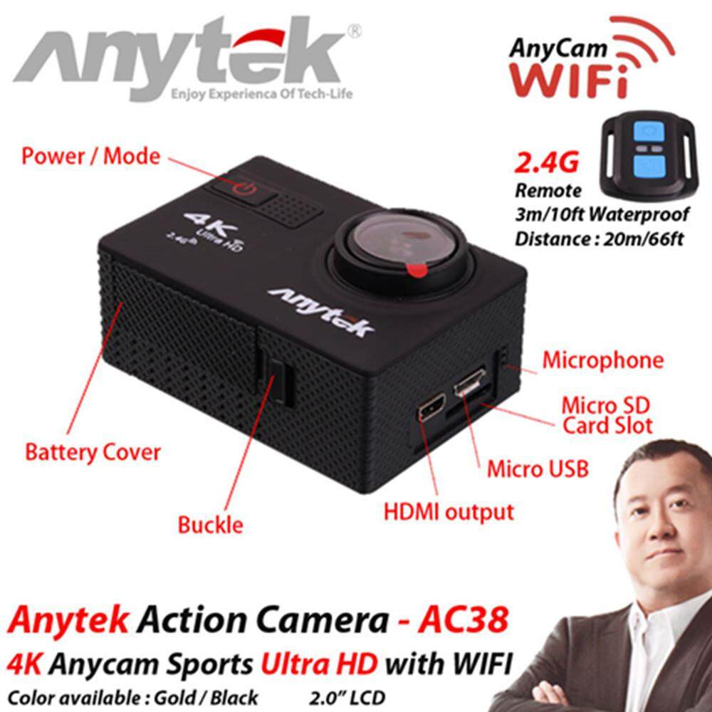 [GRAB Driver Exclusive]ANYTEK 4K AnyCam CAR DVR AC-38 3-in-1 Ultra HD Action Camera, Camera and DVR Function + 2 Free Gift (Black)