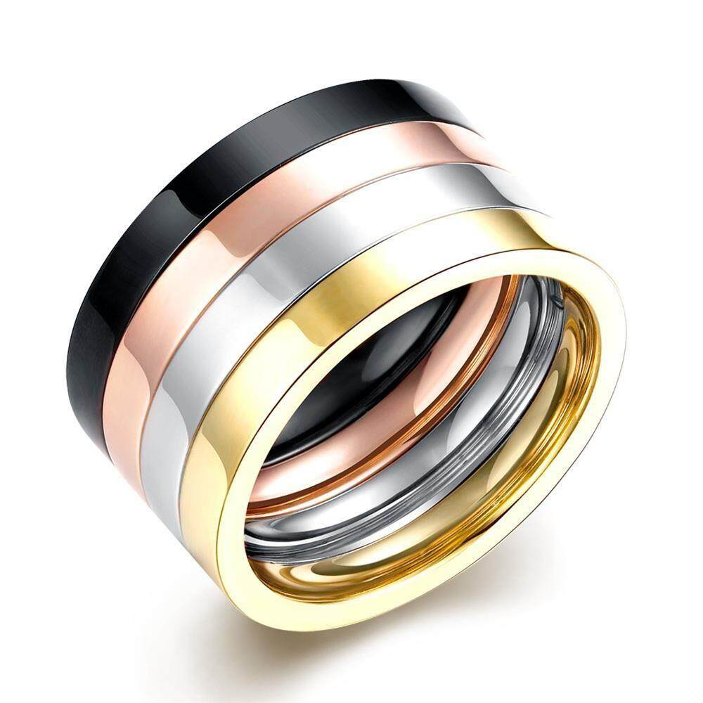 Kemstone 4 Layers Punk Couple Ring Set Rose Gold Color 316l Titanium Steel Ring Men Women Gift 4pcs By Kemstone Jewelry.