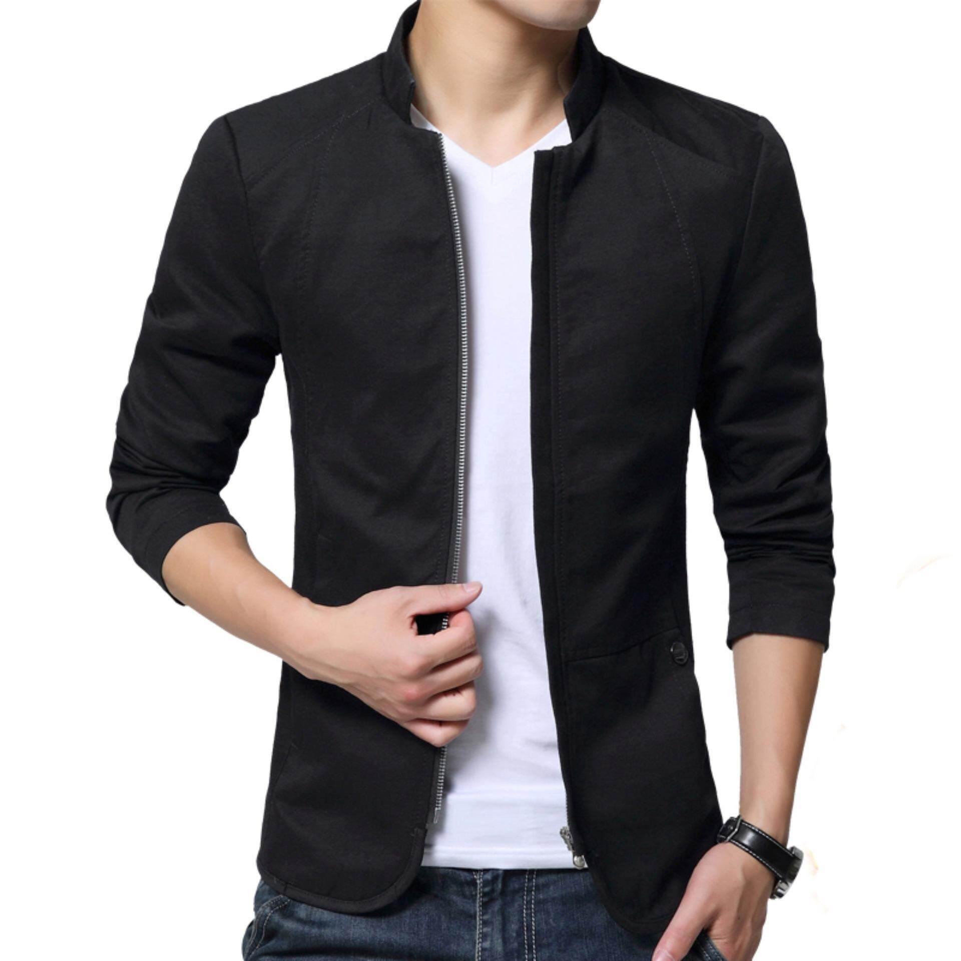 Autumn Fashion Korean Style Slim Fit Shirt Collar Cotton Jacket For Men Youth Male Casual Cotton