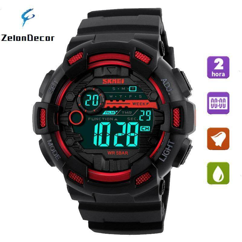 SKMEI 1243 Men Sports Watches 50M Waterproof Back Light LED Digital Watch Chronograph Shock Double Time Wristwatches - Red Malaysia