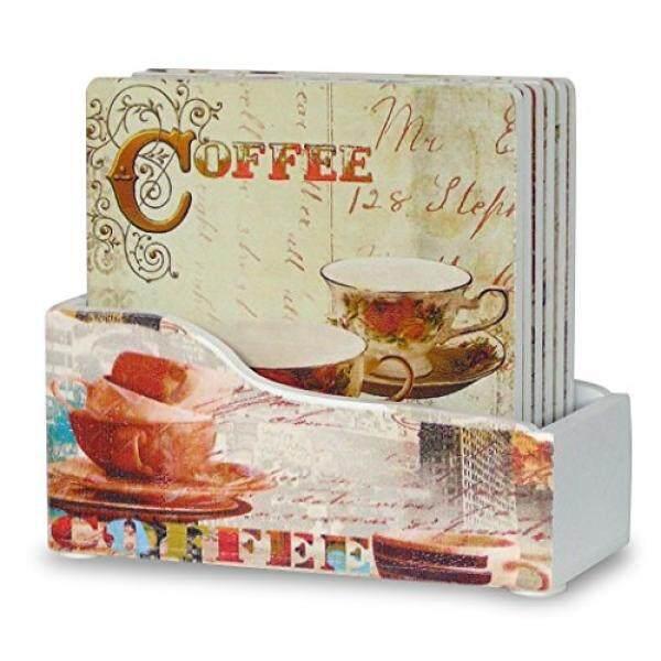 Banberry Designs Kopi Coasters-Kumpulan 6 Drink Coasters dengan Penahan-Dekorasi Kopi-Kopi
