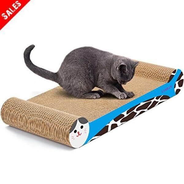 Lambaw Kucing Scratcher Ramah Lingkungan Karton Bergelombang Goresan Bantalan Lounger Tempat Tidur Kitty Bermain Lounge Istirahat Kedua Sisi Digunakan-Lindungi Furniture tetap Sehat Kucing Cakar-Tulang Bentuk Merah Muda-Internasional