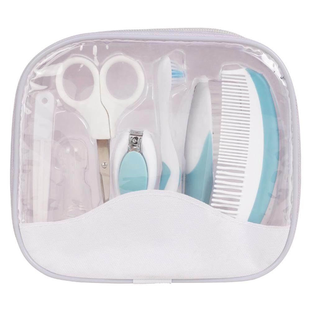 7 ชิ้นเด็ก Grooming พยาบาลชุดปลอดภัยกรรไกรตัดเล็บหวีแปรงสีฟันชุดกรรไกรสำหรับทารกสี: สีฟ้า.