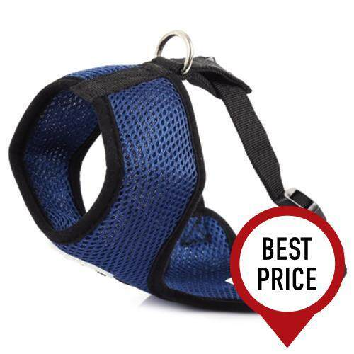 PETHING PET HARNESS SOFT MESH DOG CAT WALK COLLAR LEASH STRAP VEST (BLUE)