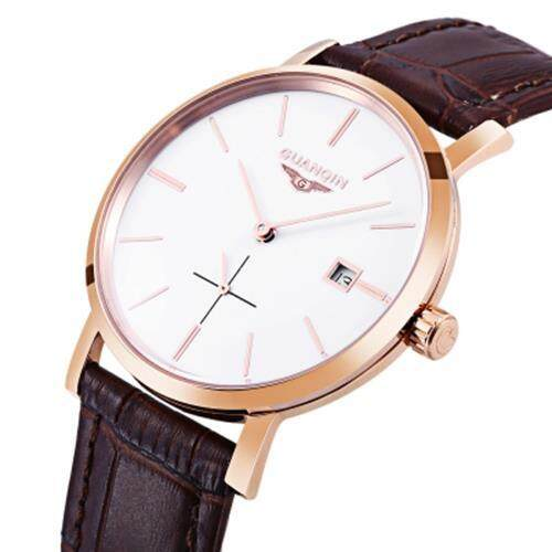 GUANQIN GJ16028 MEN AUTO MECHANICAL WATCH WORKING SUB-DIAL DATE GENUINE LEATHER BAND WRISTWATCH (WHITE AND GOLDEN)