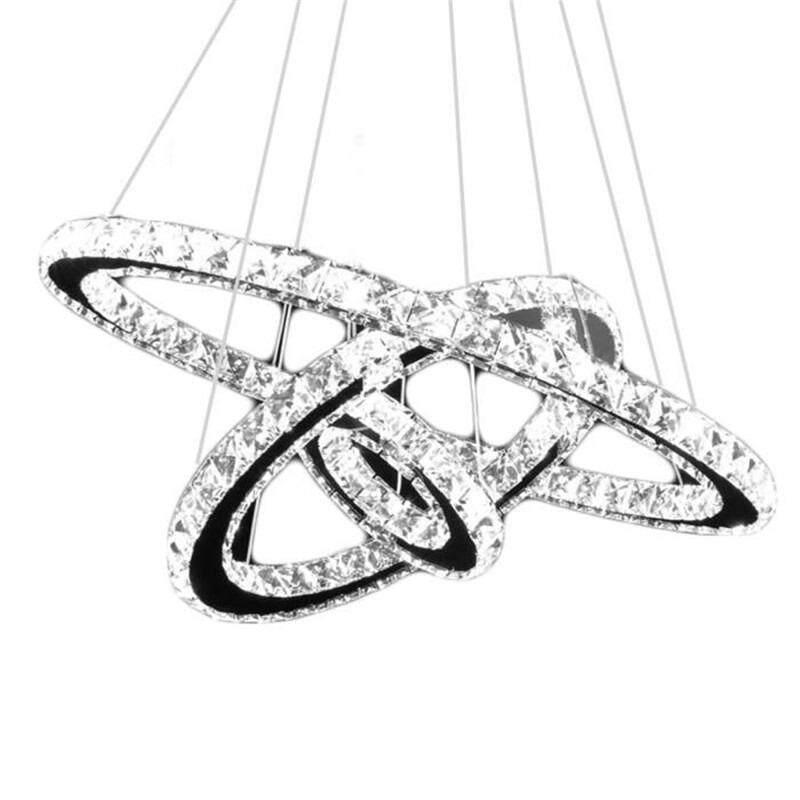 GETEK LED Crystal Ring Chandelier Pendant Light Lamp Ceiling Fixture Home Oval Shape
