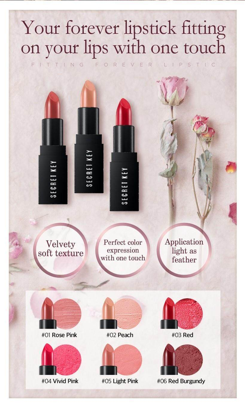Fitting Forrver Lip Stick - Rose Pink /Red / Red Burgundy (3 Type) Red Burgundy
